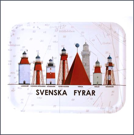 Bricka Svenska Fyrar - stor