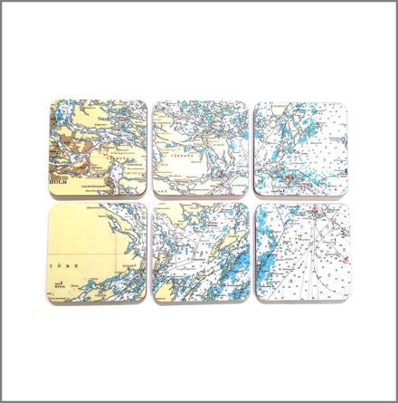 Glasunderlägg Sjökort östkust (6 st/frp)
