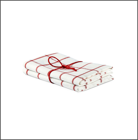 Handduk Köksruta benvit-röd