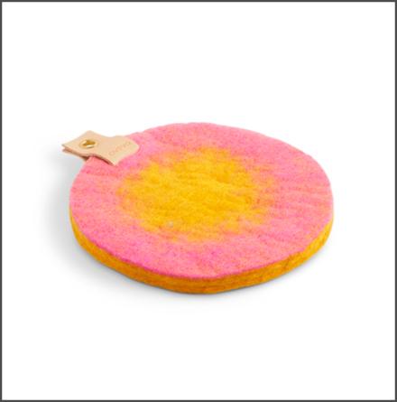Grytunderlägg rund rosa senapsgul